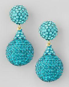 jose maria barrera earrings | Jose & Maria Barrera Pave Crystal Doubledrop Earrings Light Blue #DressUp PartyDown