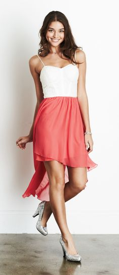Colorblock High-Low Dress
