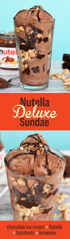 HOW TO: To get well-balanced bites throughout the entire glass, layer small scoops of ice cream with crumbled brownies, chopped hazelnuts, and a drizzle of warmed-up Nutella. For an over-the-top addition, swap regular brownies for these Nutella Brownies. Ice Cream Treats, Ice Cream Desserts, Frozen Desserts, Ice Cream Recipes, Frozen Treats, Just Desserts, Sundae Recipes, Dessert Recipes, Oreo