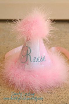 First Birthday Party Hat  So Sweet Pink and White by daintycouture, $25.00
