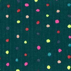 Nani Iro Kokka Colorful Pocho Japanese Fabric - neon on dark green
