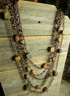Creek Jasper Statement Necklace with Copper