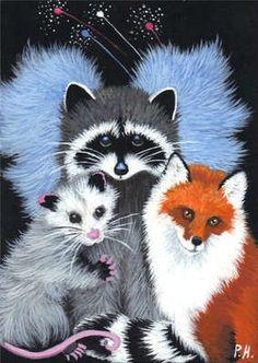 ACEO Print Raccoon Baby Opossum Fox Angel New Year | eBay