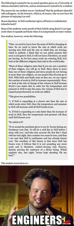 "Student Is Asked About ""Hell"" On An Exam. You've Gotta Read His Answer. #smart #engineers #lol"