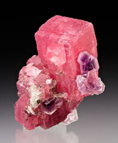 Rhodochrosite with Fluorite from Colorado  by Dan Weinrich