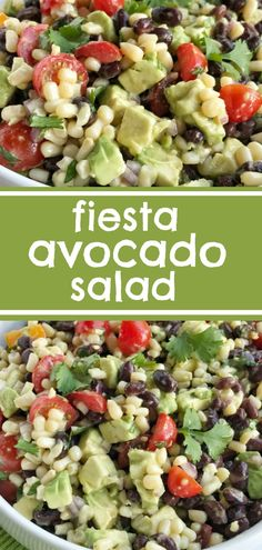 Fiesta Avocado Salad   Fiesta avocado salad is loaded with avocados, corn, black beans, tomatoes, red onion, and cilantro covered in an easy citrus & olive oil dressing. This is the perfect side dish to any Mexican dinner, topping for tacos, nachos, inside burritos, or as a dip with tortilla chips. #avocado #salad #sidedish #easyrecipe