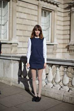 Alexa Chung outside Somerset House at London Fashion Week, February 2012. Photographer: Marcus Dawes