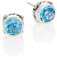 Effy Blue Topaz, Sterling Silver & 18K Yellow Gold Stud Earrings ($172) ❤ liked on Polyvore featuring jewelry, earrings, sterling silver earrings, gold fine jewelry, blue earrings, blue stud earrings and sterling silver stud earrings