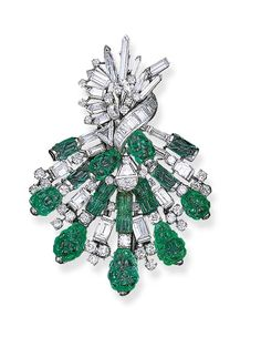 AN EMERALD AND DIAMOND BROOCH, BY OSCAR HEYMAN & BROTHERS   Designed as a scroll of circular, triangular, briolette and baguette-cut diamonds to the emerald accents, mounted in platinum   With maker's mark for Oscar Heyman & Brothers, No. 46369