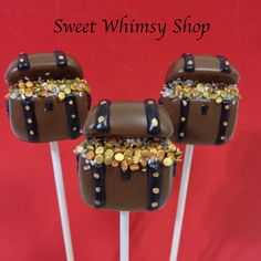 12 Treasure Chest Cake Pops for Pirate Party Peter Pan Hook