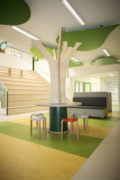 Office Interior Design, Office Interiors, Kids Doll House, Pillar Design, Tangram, Clinic Design, Paper Flower Wall, Learning Spaces, School Architecture