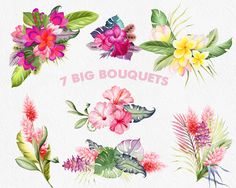 Clipart de fleurs tropical aquarelle clipart par WatercolorNomads