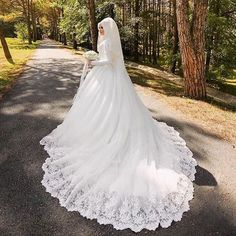 Vestido De Noiva Arabic Muslim Lace Wedding Dress With Hijab High Neck Long Sleeve Custom size White Bride Bridal Gown casamento