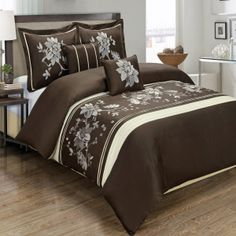 Amazon.com - Luxurious 5-Piece Duvet Cover Sets - Embroidered 100% Cotton with Decorative Pillows (Myra Chocolate) by Treasures2