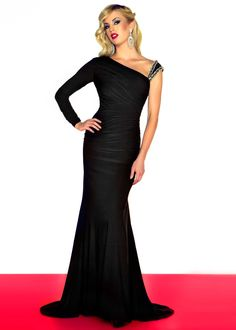 Mac Duggal 55007R - Black Long Sleeve Prom Dresses - RissyRoos.com