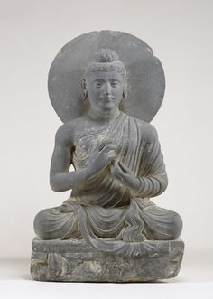 Seated Buddha in the Attitude of Preaching.2nd century (Kushan). The Buddha's mudra is called dharma-chakra; he is preaching a sermon explaining the four Noble Truths of human existence and the path to enlightenment. Many sculptures of this type were created in the Gandharan region of present-day Pakistan. This region had fallen under the control of Alexander the Great during his conquest in the 4th century BCE, and the sculptors were influenced by Greco-Roman traditions.