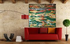 FREE SHIPPING Sunset Landscape Original Abstract by DesignOfArt, $299.00 Sunset Landscape, Free Shipping, The Originals, Rugs, Abstract, Artwork, Painting, Home Decor, Farmhouse Rugs