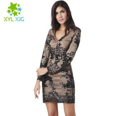Womens Sexy Sequins Embroidery Lace Bodycon Dress 2017 Fashion Black Mesh Long Sleeve V-neck Summer Dresses vestidos HX016