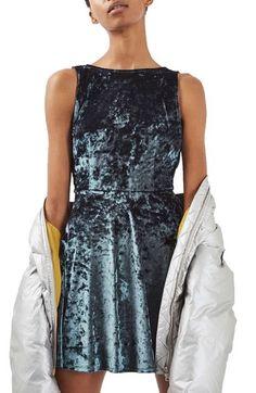 Topshop Low Back Velvet Dress (Petite) available at #Nordstrom