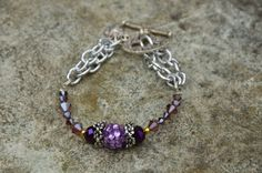Purple Bead and Chain Bracelet by LightningBugBoutique on Etsy