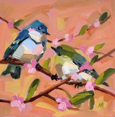 Two Cerulean Warblers no. 18 Original Oil Painting Angela Moulton