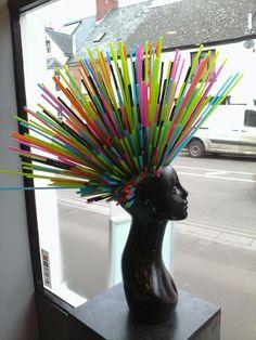 #window #display #hairsalon #up-cycled #straws