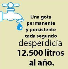 ¿#Sabiasque una gota permanente y persistente cada segundo desperdicia 12.500 litros de agua al año? #DiaMundialdelAgua