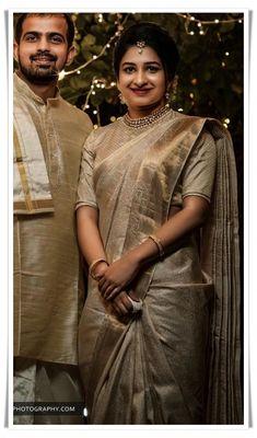 Elegant designer blouses with silk sari Read info on -- Kerala Wedding Saree, Bridal Sarees South Indian, Wedding Saree Blouse, Bridal Silk Saree, Indian Bridal Fashion, Saree Dress, Red Saree, Dress Lace, Saris