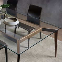 Hope is an elegant dining table range designed by Cesare Arosio and made in Italy by Pacini e Cappellini. The glass top extends over a solid wood base in walnut. Glass Dinning Table, Dinning Table Design, Wood Table Design, Dining Table Legs, Dinner Tables Furniture, Concrete Coffee Table, Contemporary Dining Table, Aesthetic Room Decor, Furniture Design