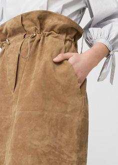 Falda piel cordón | MANGO
