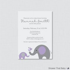 Printable OR Printed Elephant Baby Shower Invitations in Purple and Gray Invite your guests to your elephant themed baby shower with our elephant invitations. You can order your invites either as a digital, printable file or we can print and ship them to you. Just select which option