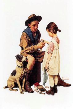 """Boy Scout First Aid Norman Rockwell Print 7"""" x 10"""" - Matted 11"""" x 14"""""""