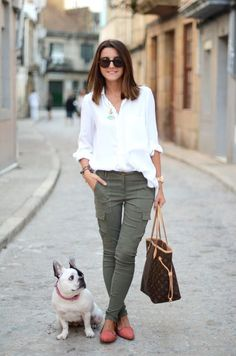 coral shoes + army green pants + white button up and a cute dog....check