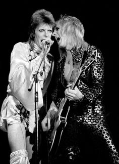David Bowie and Mick Ronson 1973