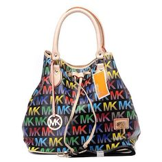 071ebb48b5 Michael Kros Monogram Black colorful Top handles with rings Michael Kors  Outlet