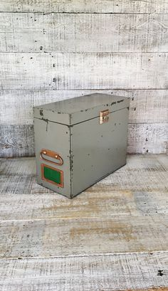 Metal Box Vintage Industrial Box Grey Metal Box with Handles Portable File Cabinet Utility Box Globe-Wernicke Co. Industrial Storage Rusty by TheDustyOldShack on Etsy
