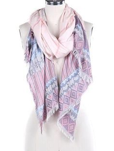 SCARF / FRAYED EDGE / TRIBAL PATTERN WOVEN / 74 INCH LONG X 26 INCH WIDE / ONE SIZE / 65% POLYESTER / 35% VISCOSE / NICKEL AND LEAD COMPLIANT