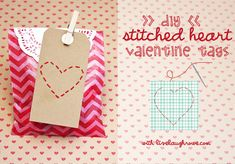 DIY Stitched Heart Valentine Tags with LiveLaughRowe.com #stitchedheart #valentines #crafts