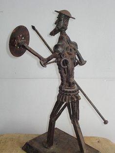No Basa Quijote De La Mancha Escultura De Metal Firmada