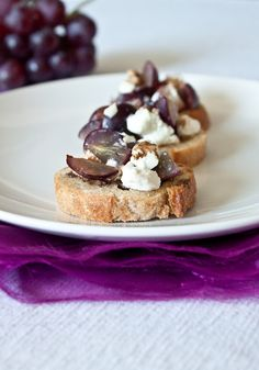 Grape and Goat Cheese Bruschetta- simple and elegant appetizer!