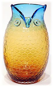Decorative Blue Amber Glass Owl Bird Vase Home Decor Accent 10.5""