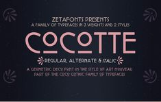 Vedi questo progetto @Behance: \u201cCocotte Typeface Family - Free for personal use\u201d https://www.behance.net/gallery/51144229/Cocotte-Typeface-Family-Free-for-personal-use