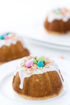 Coconut Lemon Bundt Cake are Meyer lemon mini pound cakes (using my favorite Krusteaz Meyer Lemon Pound Cake mix) infused with coconut milk, coconut extract, and topped with a sweet Meyer lemon glaze and toasted coconut. Everything that screams Spring are