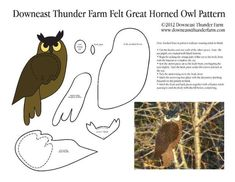 felt birds We share our property with a great horned owl. On nights when the window is open and Im doing my . night owl routine, I can often hear her who-who-who. Despite my searc Felt Owls, Felt Birds, Felt Animals, Felt Fox, Bird Patterns, Applique Patterns, Craft Patterns, Bird Template, Crown Template