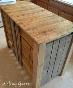 Build your own Kitchen Island out of Pallets for an inexpensive fix to add more kitchen storage and counterspace.