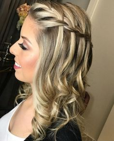 Amazing Waterfall Braded Prom Hairstyles 2019 For Your Exclusive . - Amazing waterfall braded prom hairstyles 2019 for your exclusive … – prom hairstyles - Prom Hairstyles For Long Hair, Party Hairstyles, Braided Hairstyles, Wedding Hairstyles, Hairstyles 2018, Ethnic Hairstyles, Hairstyle Short, Short Haircut, Hairstyle Ideas