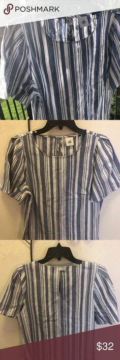 1ddc34f2be5ff Cabi Linen Short Sleeve Top Cabi Linen Short Sleeve Top Used Like New Blue    White Size Small Linen Rayon Spandex CAbi Tops Blouses