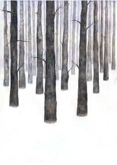 """Winter forest"", illustration, paper and watercolor on paper, by Birgitte Lebesby on Etsy"