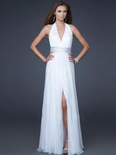 Beading Sheath/Column Halter Sleeveless Floor-length Chiffon Prom Dress