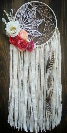 Romantic Dream Catcher - white dream catcher floral - bohochic pink cream Dreamcatcher by TheWanderingFeather on Etsy https://www.etsy.com/listing/482731739/romantic-dream-catcher-white-dream